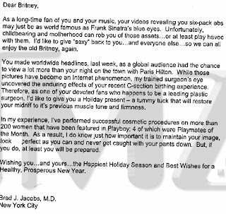 Photo of gift certificate sent to Britney Spears for tummy tuck