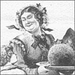 Victorian woman presenting a Christmas pudding antique black and white illustration