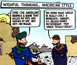 single color panel from To Afghanistan and Back by Ted Rall