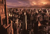 CGI color still of Gotham City at the 'magic hour' by Warner Brothers