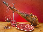 color photograph of a Jamon Iberico, Spanish air cured ham