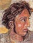 A portrait of Alexander from the 'Alexander Mosaic' ca 100 BCE on the floor in the House of the Faun Pompeii.