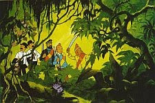 A color still from the 1969 animated film based on the Tintin book 'Le Temple du Soleil' aka 'Prisoners of the Sun'.