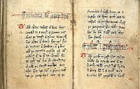color photo of original manuscript pages from The Forme of Cury, A Roll of Ancient English Cookery