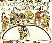 color photo of a Medieval feast detail from the 11th century Bayeux Tapestry