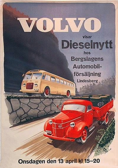 transpress nz: Volvo truck and bus poster, 1949