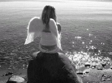mulher,anjo,mar,asas