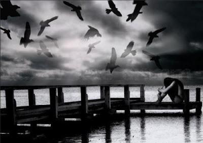 lago,pássaros,ponte,mulher pensativa