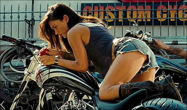 megan fox transformers 2 white dress scene. megan fox transformers 2 bike.