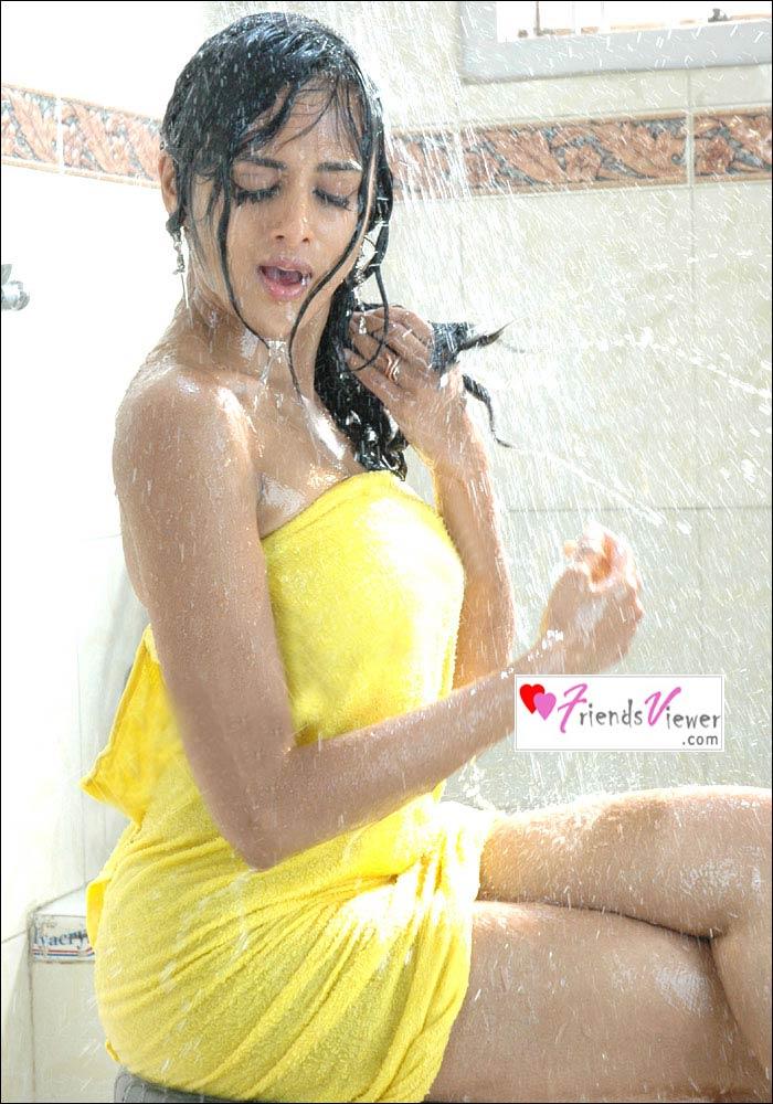 Astha singhal in yellow wet bath towel for Hot bathroom photos