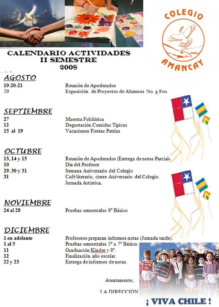 CALENDARIO  DE ACTIVIDADES  II SEMESTRE 2008