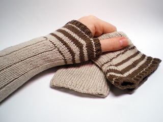 knitted striped arm warmers wrist warmers fingerless gloves in a beige and brown bamboo cotton blend