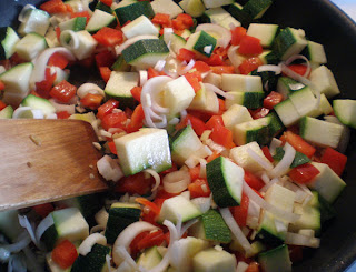 chopped vegetables in the pan zucchini capsicum garlic leek