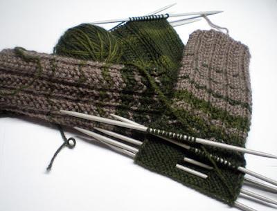 beige and green knitted socks in progress