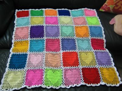 Cyns Crochet Knitting Corner Loving Hearts Baby Blanket C