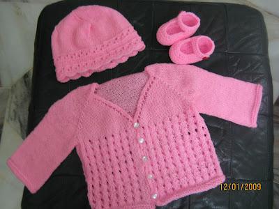 Cyns Crochet Knitting Corner Pink Baby Set K Maryjane