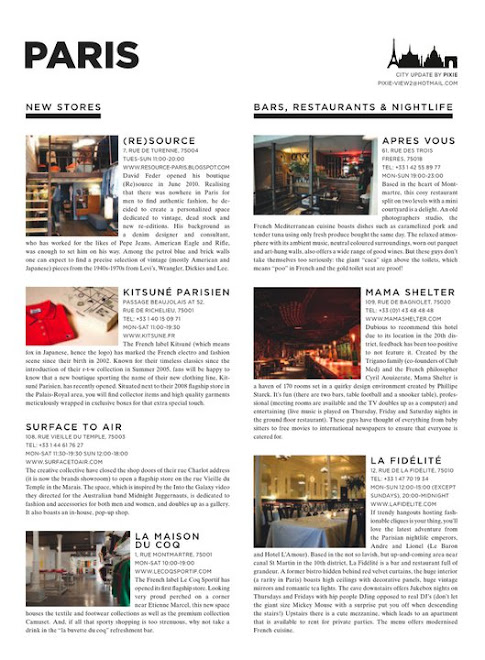 {RE}SOURCE in VIEW 2 MAGAZINE -  NEW SHOPS IN PARIS