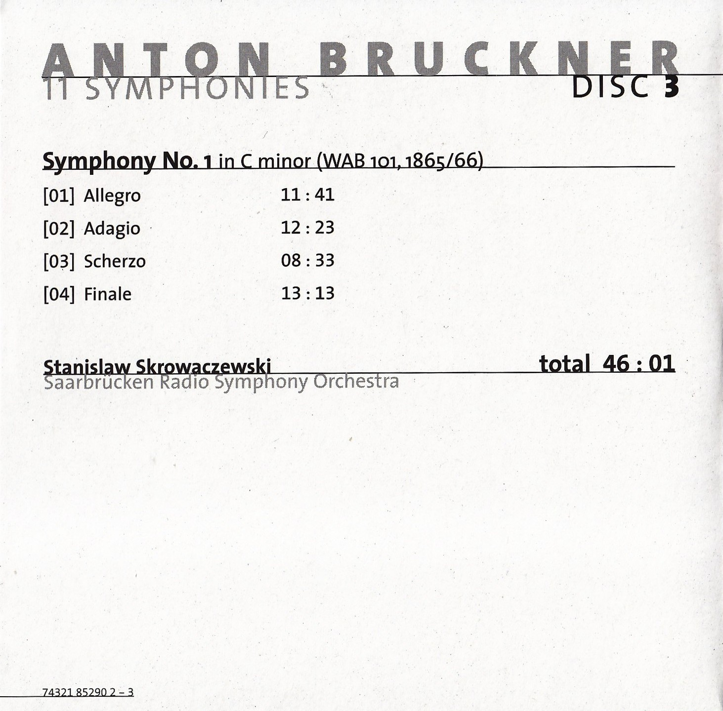 sentidos bruckner sinfon a n 1 in c minor stanislaw. Black Bedroom Furniture Sets. Home Design Ideas