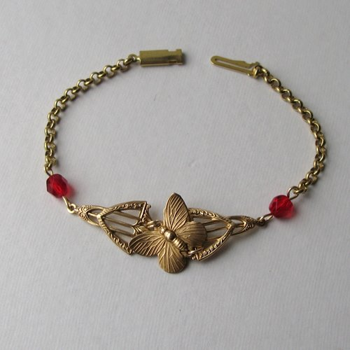 Art Deco Red Butterfly Bracelet