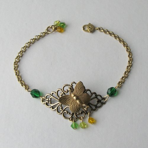 Green Butterfly Brass Bracelet