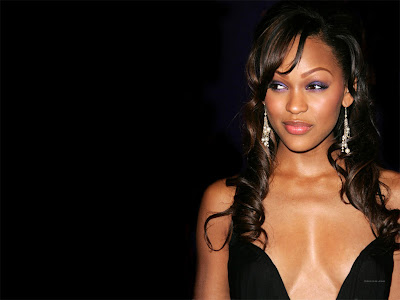 meagan good wearing furry