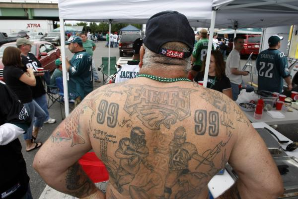 The guy with the Eagles helmet tattooed on his calf always seemed