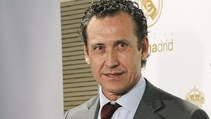 Valdano in a hall of Santiago Bernabeu Stadium