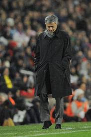 Mourinho at Camp Nou stadium sad after the defeat 5 to 0