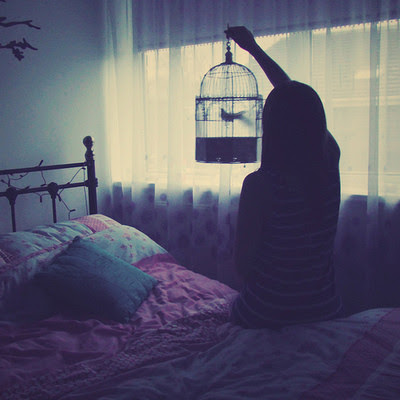 "alone bedroom bird birdcage cage girl 5ff33852d7cce3f6d354f2987fba70c0 h large - ""Kabhi Kabhi"""