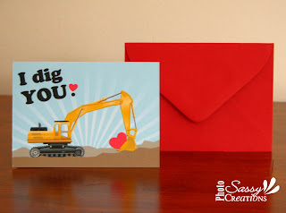I dig you! Digger Valentine's day card for boys