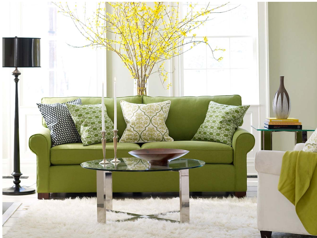 Home design green living room sofa for Living room with green sofa