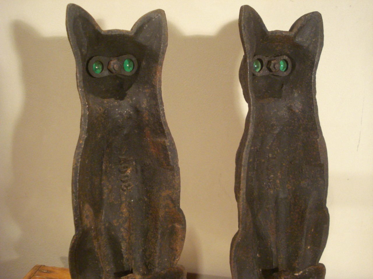 Cat Andirons With Glass Eyes