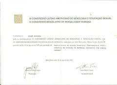 Certificado do VI Congresso Latino Americano de Sexologia e Educação