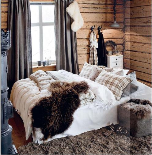 Siljes lille krypinn inspirasjon hytte for Winter cabin bedding