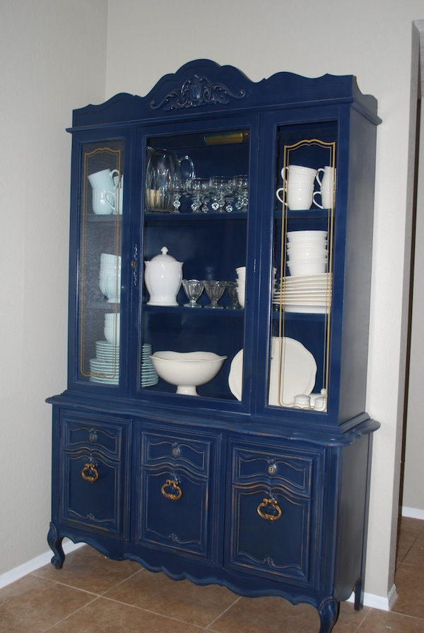 amazing navy china cabinet hutch classy clutter. Black Bedroom Furniture Sets. Home Design Ideas