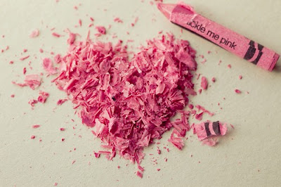 pink crayon heart