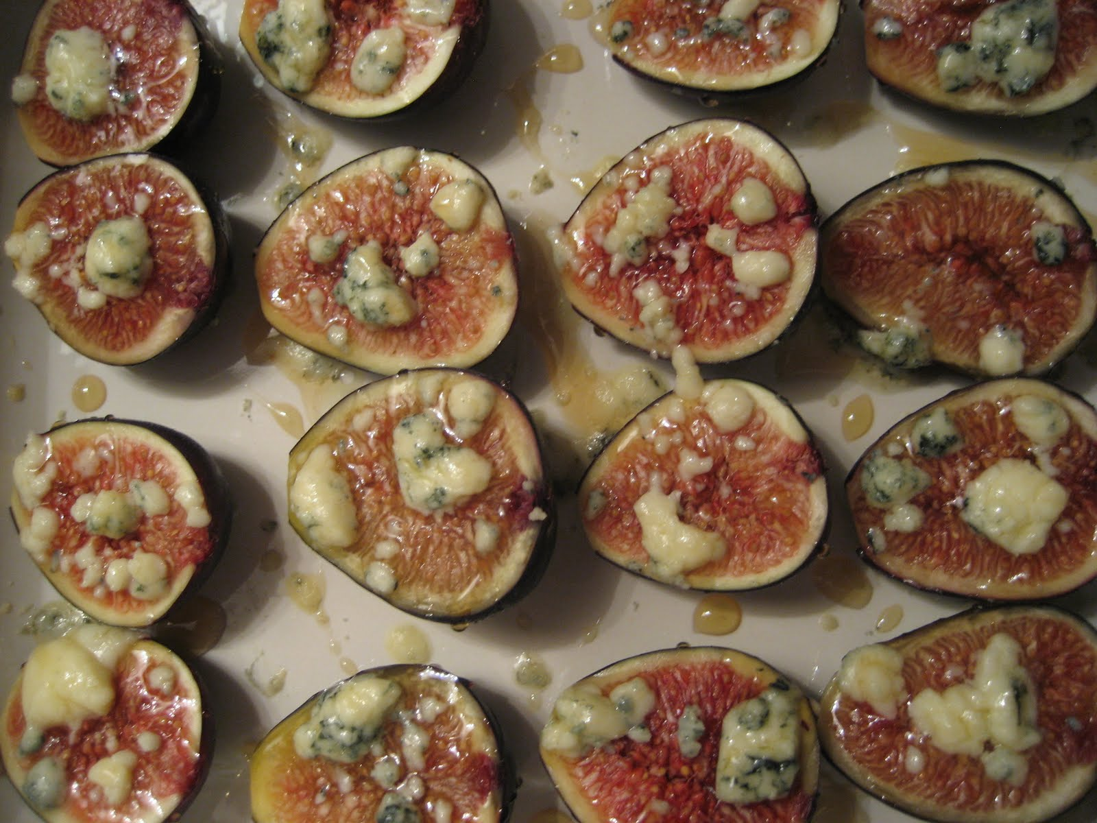 ... Food: Roasted Black Mission Figs with Crumbled Blue Cheese and Honey