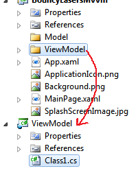 Copy the ViewModel folder from the View project into the ViewModel project