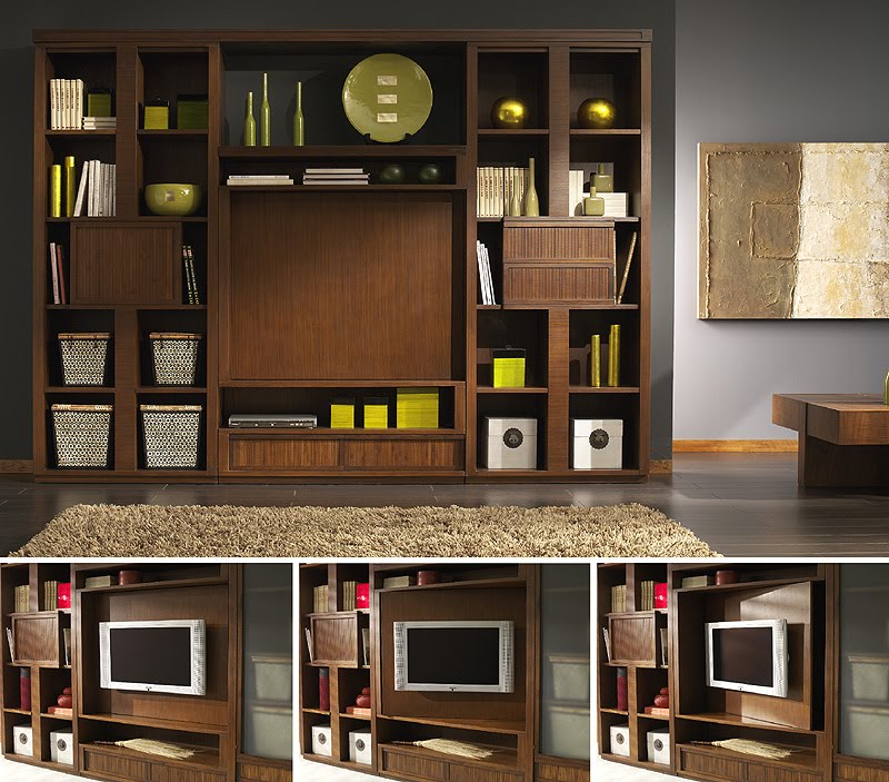 Media and storage wall unit. TIBET craftsman furniture collection design by Somerset Harris
