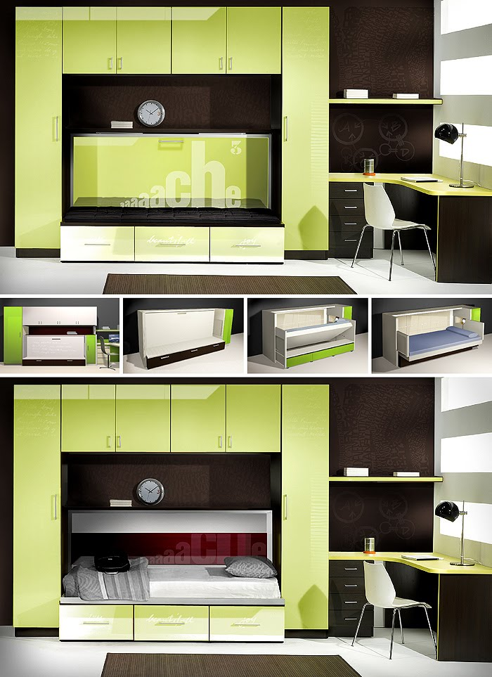 Teen bedroom set with hidden wall bed CENIT design by Somerset Harris