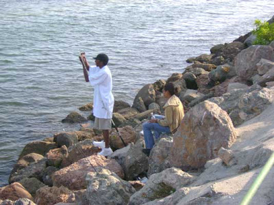 Couple Fishing at Marina Del Rey 7/30/07
