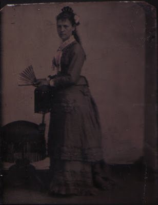 Standing Woman with Flower and Fan - Tintype