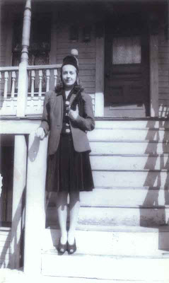 Aunt Yvonne on Vose St. Steps - 1942