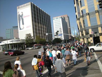 The Protestors Headed East on Wilshire