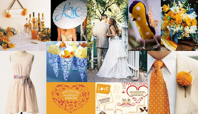 Orange and Blue Wedding Inspiration Board