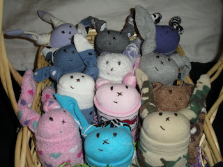 sock bunnies in basket