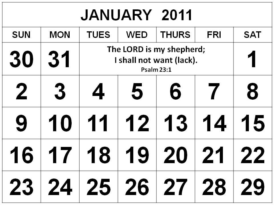 january calendar 2011 template. January 2011 Calendar with