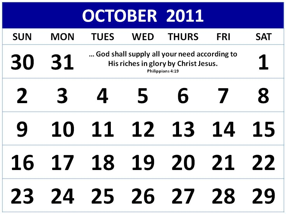 calendar october 2011. Christian October 2011