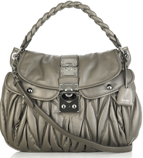 Miu Miu pewter Matelasse Coffer Bag