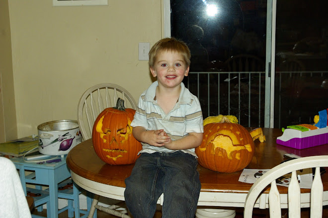 Ethan with our Pumpkins